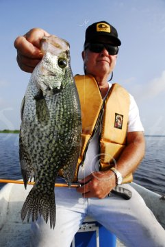 Angler with big black crappie