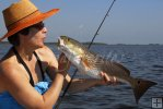 Lady angler with redfish