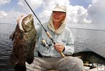 Tripletail with angler